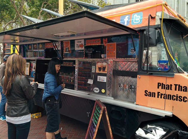 The Phat Thai trucked parked in Union Plaza on a foggy Monday. - JESSICA FENDER