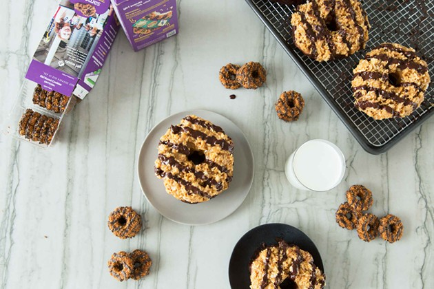 Samoa donuts (with size comparisons in the form of actual Samoas) - DREW SWANTAK/THRILLIST
