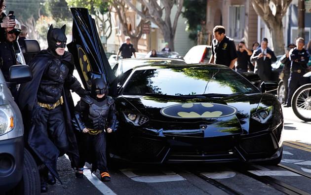"EJ Johnston as Batman and Miles Scott as Batkid in New Line Cinema's documentary ""Batkid Begins"", A Warner Bro. Pictures release. - PAUL SAKUMA"