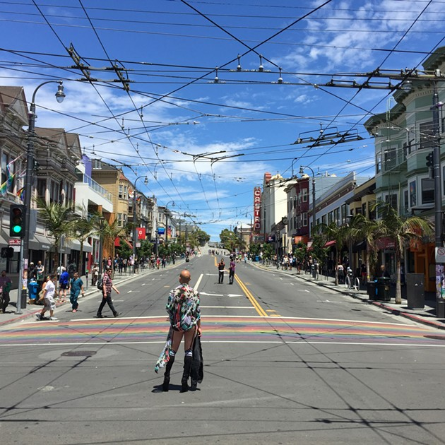 Castro Street, blissfully empty, hours before the Pink Party. - PETER LAWRENCE KANE