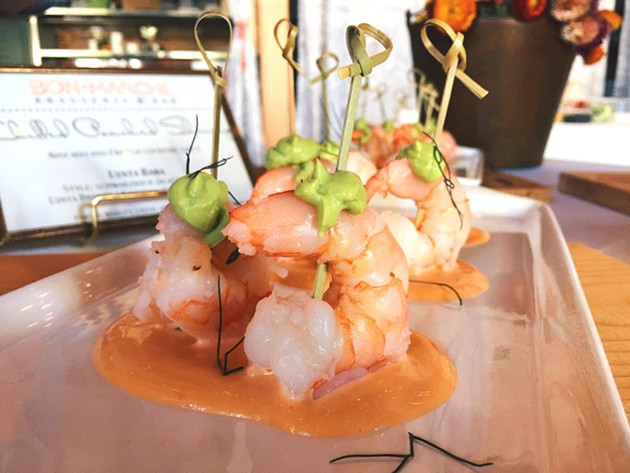 Chilled poached shrimp with avocado and a French cocktail sauce, paired with (not pictured) a Früh Kölsch (Germany).