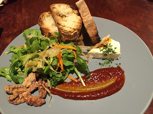 Red miso, cream cheese and other delights adorn a salad at West Oakland's FuseBOX. - ALIX WALL