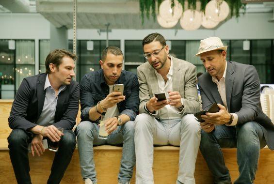 Tinder Co-Founder and VP of Product Jonathan Badeen, Tinder Co-founder and President Sean Rad, Forbes' Head of Mobile Products Salah Zalatimo and Forbes magazine Editor Randall Lane at the Forbes Under 30 app launch party on August 5.
