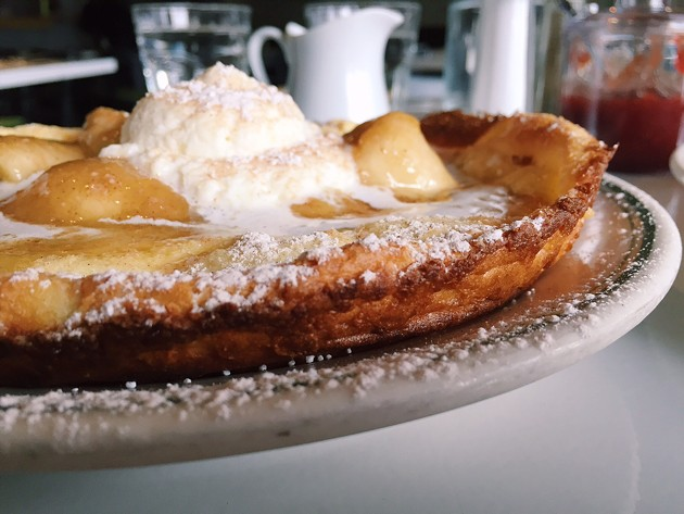 Dutch pancake with caramelized bananas and whip cream from Lale. - BETTY WANG