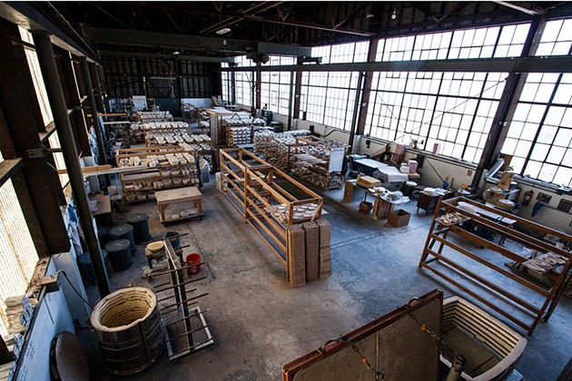 The warehouse where Jered Nelson creates his pottery. - THE DAPPER DINER