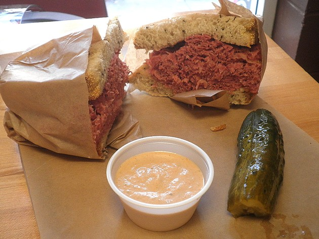 Corned beef on rye with Tysyacha sauce and a sour pickle. - ERIC S. BURKETT
