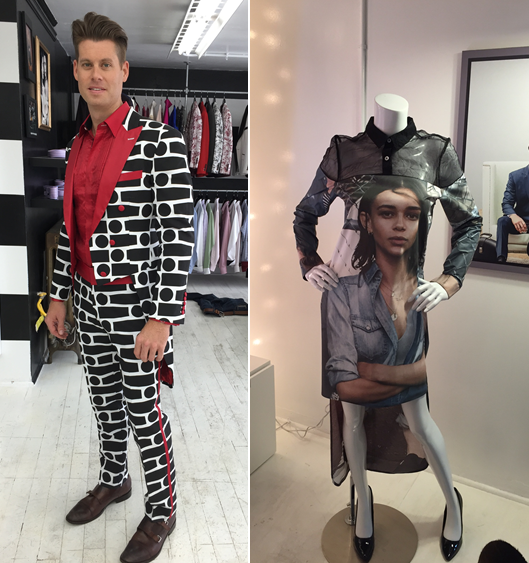 Two looks from Patterson, Wall and Poli's unconventional challenge, using Macys ephemera. - COURTESY OF MACYS