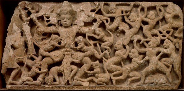 Scene from the Ramayana (Epic of Rama);  Kumbhakarna battles the monkeys, Sandstone, Northeastern Thailand, approx. 1075-1125 - ASIA WEEK SAN FRANCISCO BAY AREA