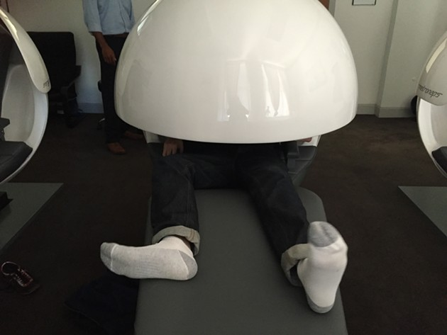 Matt Saincome, stuck in a nap pod.