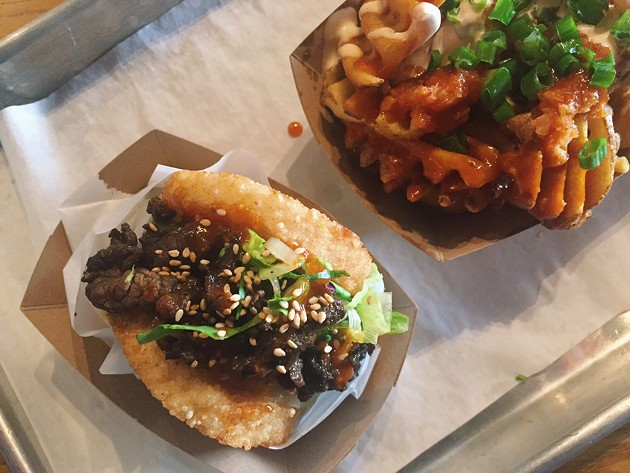 A BBQ beef koja and Kamikaze fries. - BETTY WANG