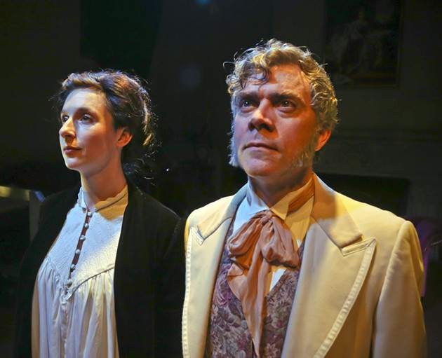 Ada Lovelace (Kathryn Zdan)and Charles Babbage (Kevin Clarke*) in Lauren Gunderson's new play, Ada and the Memory Engine. - JIM NORRENA