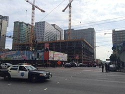 Scene of the shooting at Eighth and Market - MICHAEL BARBA/SF EXAMINER