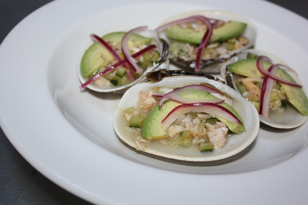 Butter clam aguachiles at Cala, whose taco stand opens tomorrow. - KEVIN KELLEHER