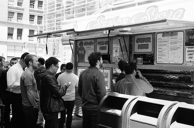 Men in line in San Francisco. - PHIL PARKER/FLICKR