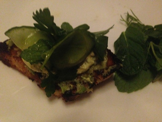 Oregon toast — tofu pate with avocado and herb salad - A