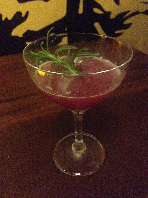 I-5 High Five — gin, Oregon marionberry liquor, California spiced pear brandy, lemon, rosemary