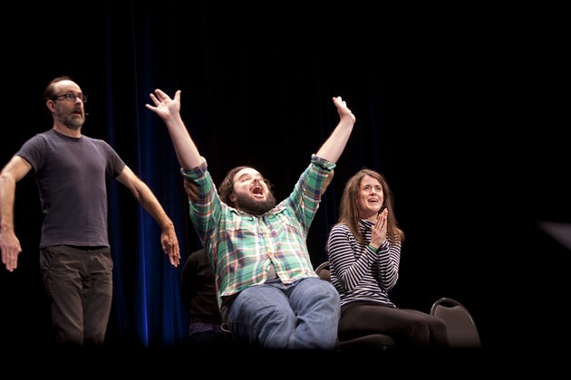 "Brian Huskey, Jon Gabrus, and Mary Holland perform at ""ASSSSCAT."" - PHOTO BY TOMMY LAU"