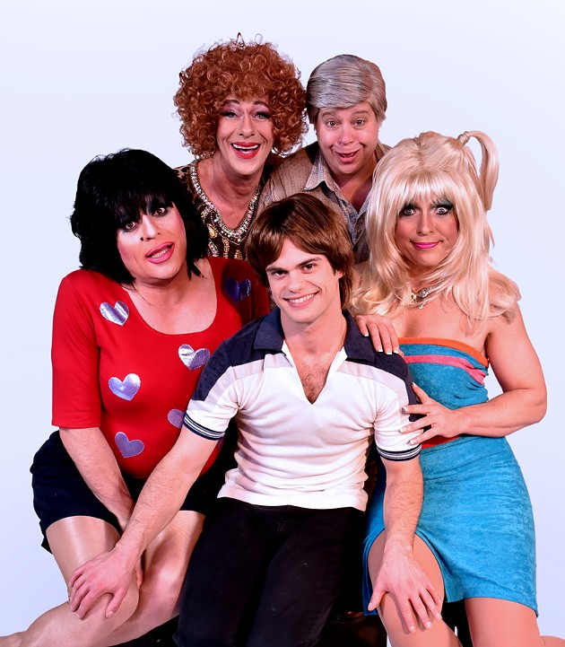 Matthew Martin As Helen, Sara Moore As Stanley, Heklina As Janet, Adam Roy As Jack, And D'Arcy Drollinger As Chrissy - GARETH GOOCH