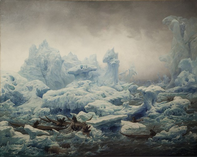 François-Auguste Biard, Greenlanders Hunting Walrus: View of the Polar Sea, 1841.