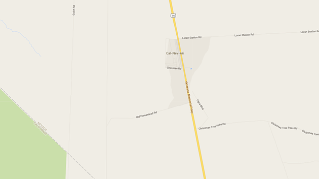 Cal-Nev-Ari, surrounded by not much else on Highway 95. - GOOGLE MAPS