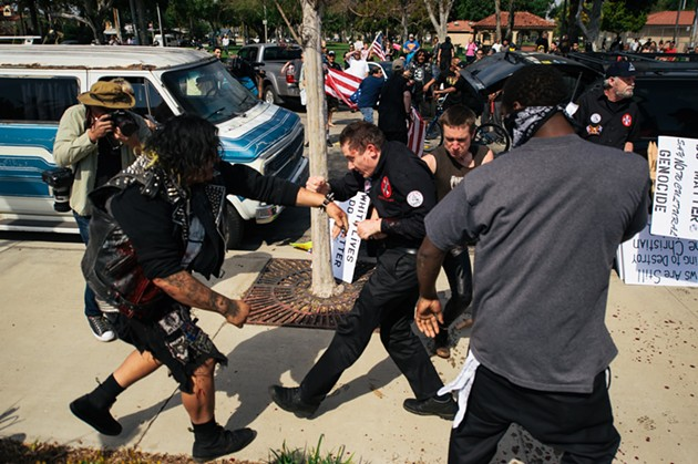 Charles Donner, San Francisco's Ku Klux Klansman, engaging in combat. - ERIC HOOD/OC WEEKLY
