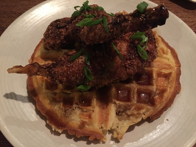 Fried rabbit and waffles and Jasper's Corner Tap - PETER LAWRENCE KANE
