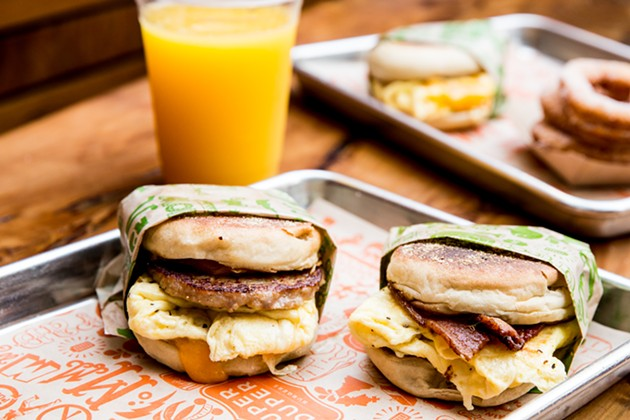 Super Duper breakfast sandwiches. - AUBRIE PICK