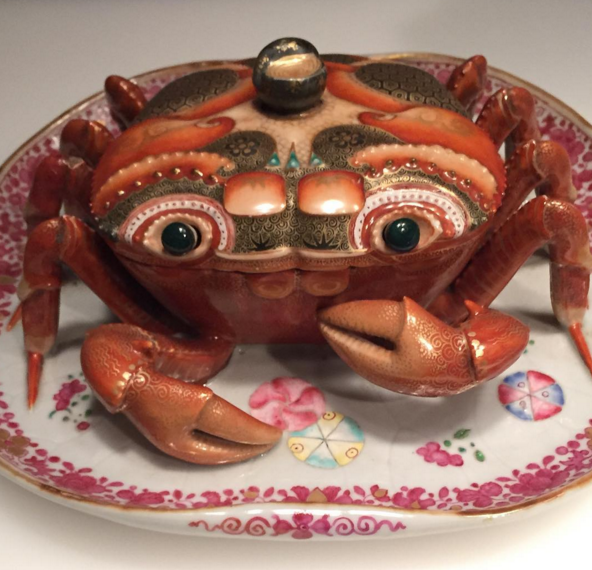 """Long before #Disney, ceramists in Europe and Asia were creating whimsical animal figurines who seemed ready to come to life. This little crab, made in China about 1770, is ready for a starring role in the next #Pixar movie."" - INSTAGRAM/THOMASPCAMPBELL"