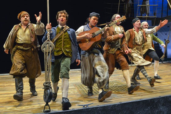 (l to r) Steve Pickering (ensemble), John Babbo (Jim Hawkins), Matthew C. Yee (Abraham Gray), Christopher Donahue (Redruth), Steven Epp (Long John Silver), and Alex Moggridge (Dr. Livesey) in Mary Zimmerman's Treasure Island at Berkeley Rep. - KEVIN BERNE/BERKELEY REPERTORY THEATRE