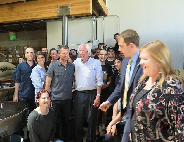 Sen. Bernie Sanders with Sightglass co-founder Jerad Morrison and others. - SIGHTGLASS COFFEE