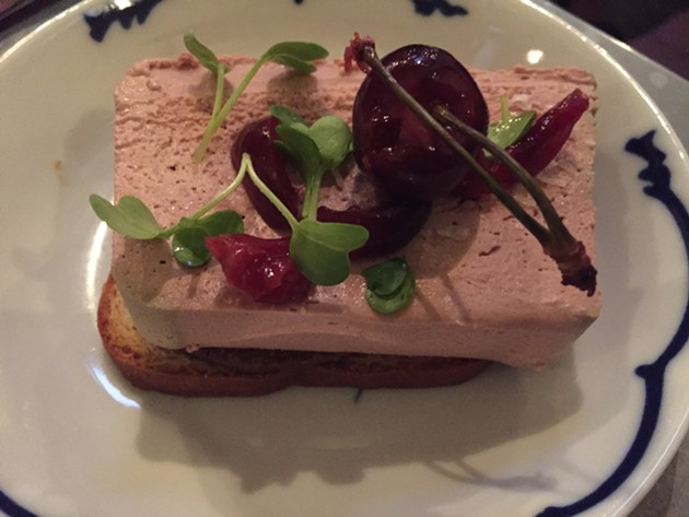 Duck liver mousse at Through the Kitchen Window, a (mostly) monthly pop-up at Range on Valencia Street. - PETER LAWRENCE KANE