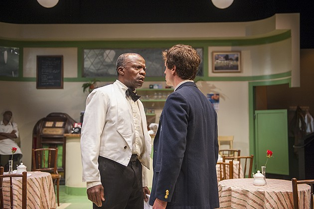l-r, The day takes a serious turn for Sam (L. Peter Callender) and Hally (Andrew Humann) in Aurora Theatre Company's Master Harold…and the boys - DAVID ALLEN