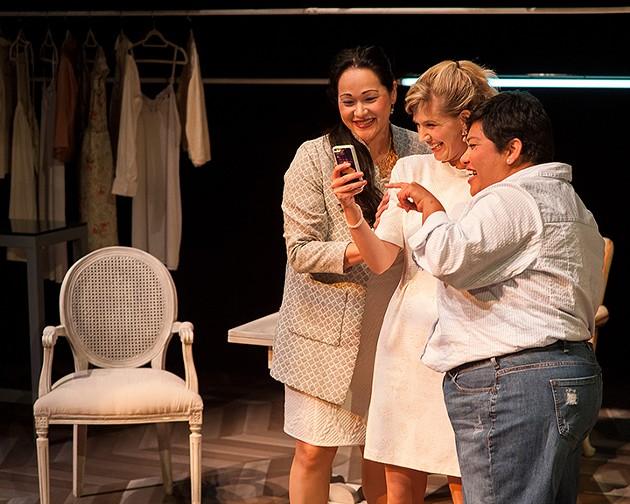 Julia (Karen Offereins), Ana (Sarah Moser), and Mehr (Amy Lizardo) share their excitement over Ana's second date. - KEN LEVIN