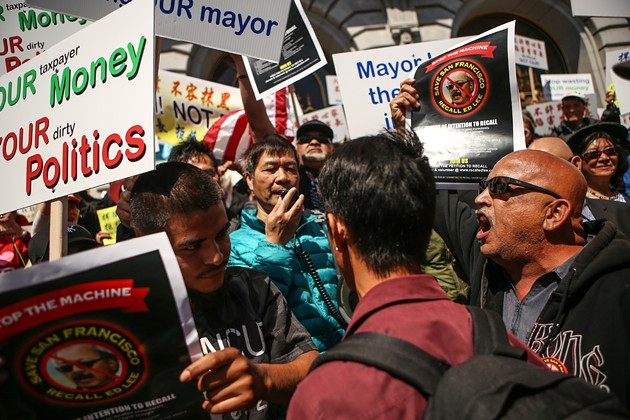 Protestors pushing for the recall of Mayor Ed Lee shout at supporters of the mayor outside the steps of City Hall  on July 15. - JOEL ANGEL JUÁREZ/SPECIAL TO S.F. EXAMINER