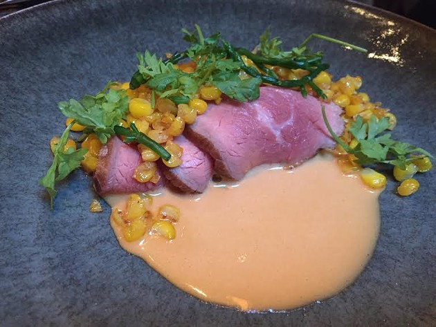 Veal with corn, sea beans, and uni, at Nico - PETER LAWRENCE KANE
