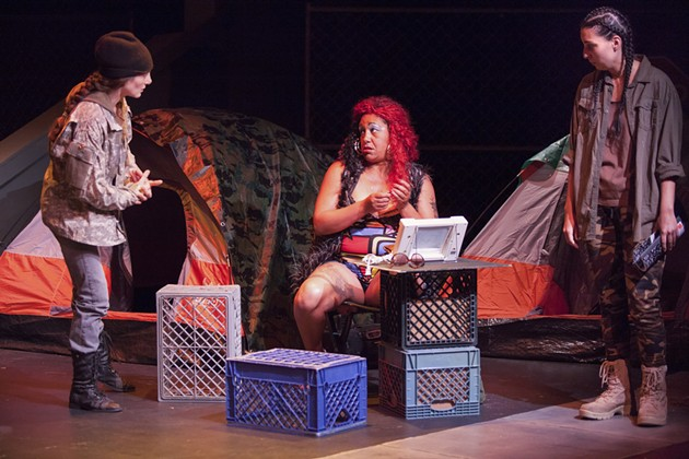 Homeless vets Cory (Heather Gordon), Yolanda (Cat Brooks) and Maya (Livia Demarchi) are living out the worst years of their lives in Low Hanging Fruit. - COURTESY OF 3 GIRLS THEATRE