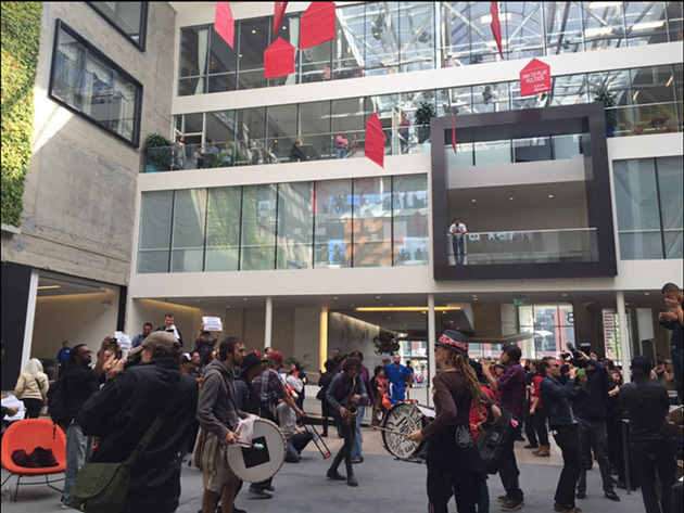 Protesters at Airbnb headquarters on Nov. 2, 2015. - JULIA CARRIE WONG/TWITTER