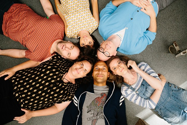 Counter Clockwise: Keegan-Michael Key (Jack), Gillian Jacobs (Samantha), Chris Gethard (Bill), Kate Micucci (Allison), Mike Birbiglia (Miles) and Tami Sagher (Lindsay) in Mike Birbiglia's Don't Think Twice, opening in San Francisco on August 5. - COURTESY OF JON PACK
