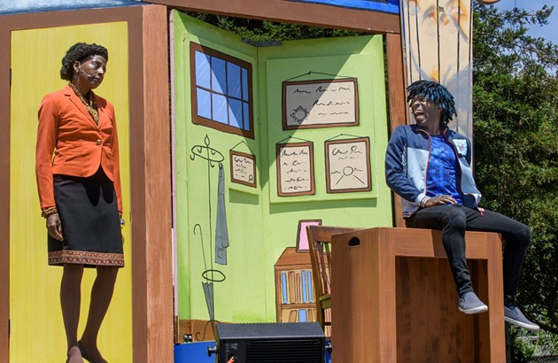 (l-r) Velina Brown (Lavina Jones), (sitting l-r) Rotimi Agbabiaka (Thomas Jones) in Schooled. - MIKE@MIKEMELNYK.COM