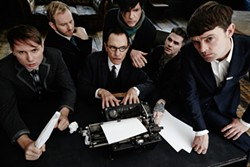 DAVID EDWARDS - Sparks mans the typewriter, surrounded by Franz Ferdinand.