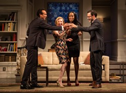 LIZ LAUREN - From left, Bernard White (Amir), Nisi Sturgis (Emily), Zakiya Young (Jory), and J. Anthony Crane (Isaac) in Ayad Akhtar's Disgraced.