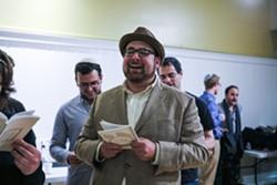 GABRIELLE LURIE - Ben Stern sings during Kabbalat Shabbat at the Women's Building.