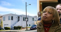 MIKE KOOZMIN/SF WEEKLY - Left, 994 Le Conte Avenue, Mario Woods's childhood home that his mother, Gwendolyn Woods, lost to predatory loans 11 months before her son was shot and killed by SFPD on Dec. 2.