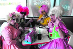 PETER LAWRENCE KANE - LOL McFiercen, Peaches Christ, Sue Casa, and Heklina tally the Mothership winners at McDonald's in Auburn, Calif.