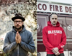 LEFT: ESTEVAN ORIOL - Left: Nick Giacomini, a.k.a. MC Yogi. Right: Adam Giacomini, a.k.a. DJ AMEN.