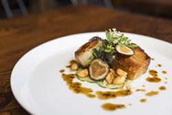 RACHEN GARNER - Sea scallop and pork belly with cucumber, peanut, black vinegar, tarragon, fig, and peppercress