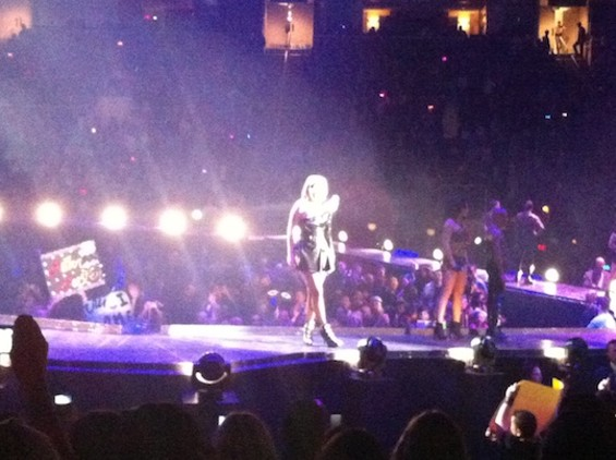 Up close with Gaga, in this excellent iPhone photo.