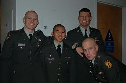 USF undergrad Ryan Caskey, left, seen here with his ROTC colleagues, is accused of four campus rapes