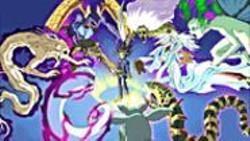 KAZUKI  TAKAHASHI - Various monsters confront Yugi (center).