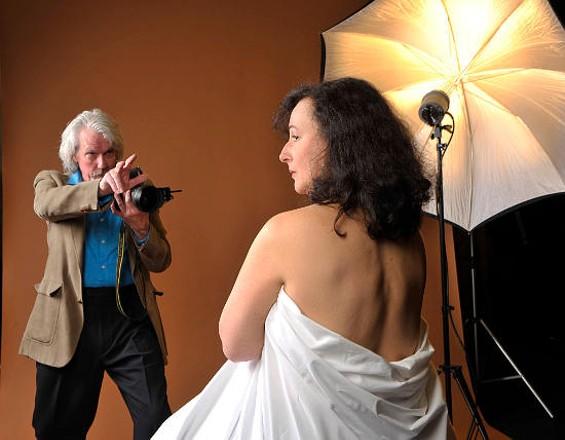 Visiting photographer Frank (Howard Swain) takes shots of Joyce (Jeri Lynn Cohen) in Body Awareness. - DAVID ALLEN